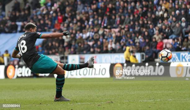 Mario Lemina of Southampton shoots at goal during the FA Cup Quarter Final match between Wigan Athletic and Southampton FC at the DW Stadium on March...