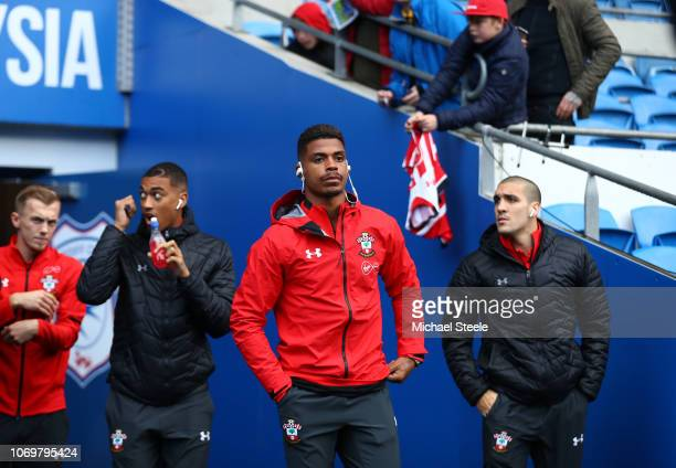 Mario Lemina of Southampton takes a look around the stadium prior to the Premier League match between Cardiff City and Southampton FC at Cardiff City...