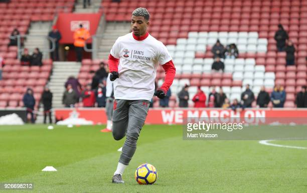 Mario Lemina of Southampton warms up ahead of the Premier League match between Southampton and Stoke City at St Mary's Stadium on March 3 2018 in...