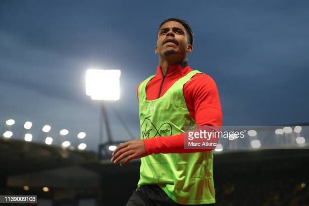 Mario Lemina of Southampton warms up during the Premier League match between Watford FC and Southampton FC at Vicarage Road on April 23 2019 in...