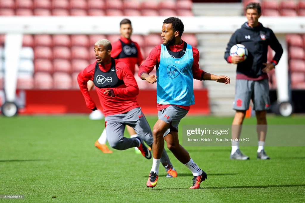 Mario Lemina (left) Ryan Bertrand (right) during a Southampton FC training session at St Mary's Stadium on September 14, 2017 in Southampton, England.