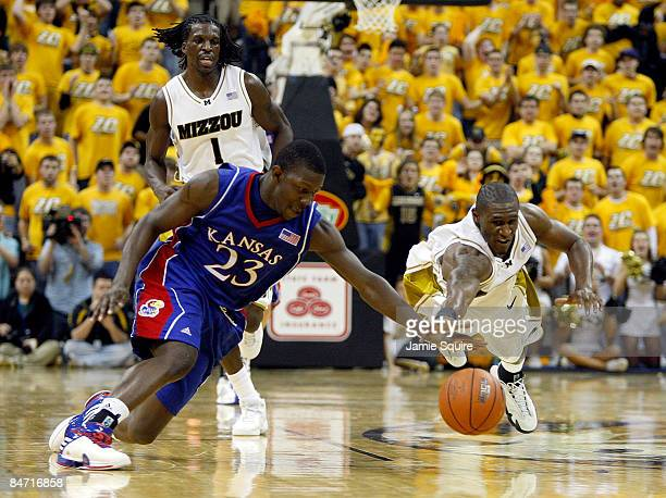 Mario Little of the Kansas Jayhawks battles JT Tiller of the Missouri Tigers for a loose ball during the game on February 9 2009 at Mizzou Arena in...