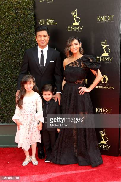 Mario Lopez and Courtney Lopez attend the 45th annual Daytime Emmy Awards at Pasadena Civic Auditorium on April 29 2018 in Pasadena California