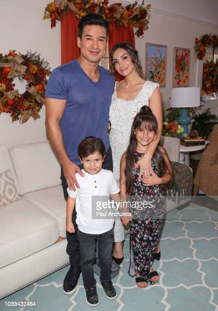 Mario Lopez and Courtney Lopez with their children Dominic Lopez and Gia Lopez visit Hallmark's Home Family at Universal Studios Hollywood on...