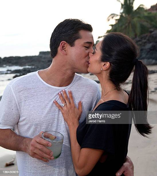 Mario Lopez and Courtney Mazza celebrate their New Years day engagement on January 1 2012 in Ixtapa Mexico