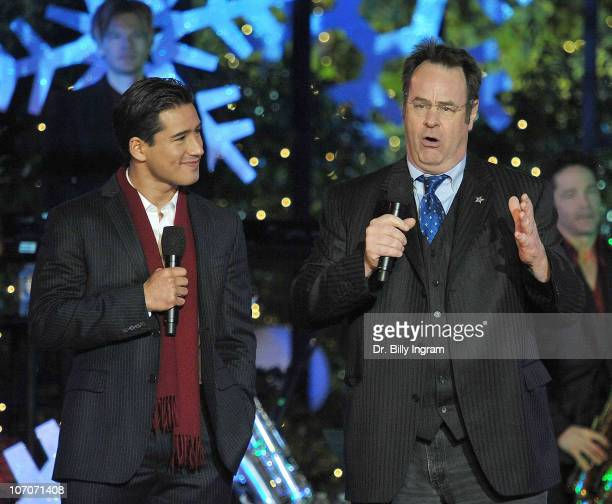 Mario Lopez and Dan Aykroyd attend the annual Hollywood Christmas celebration at the Grove on November 21 2010 in Los Angeles California