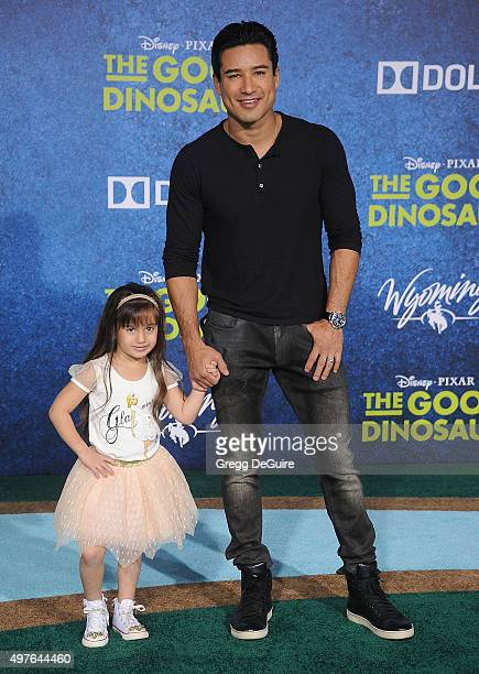 "Mario Lopez and daughter Gia Francesca Lopez arrive at the premiere of Disney-Pixar's ""The Good Dinosaur"" on November 17, 2015 in Hollywood,..."