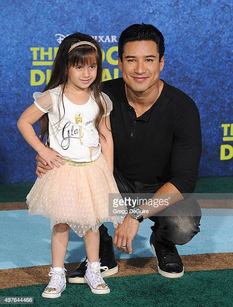 Mario Lopez and daughter Gia Francesca Lopez arrive at the premiere of DisneyPixar's 'The Good Dinosaur' on November 17 2015 in Hollywood California