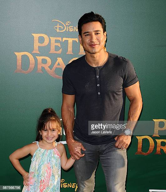 "Mario Lopez and daughter Gia Francesca Lopez attend the premiere of ""Pete's Dragon"" at the El Capitan Theatre on August 8, 2016 in Hollywood,..."