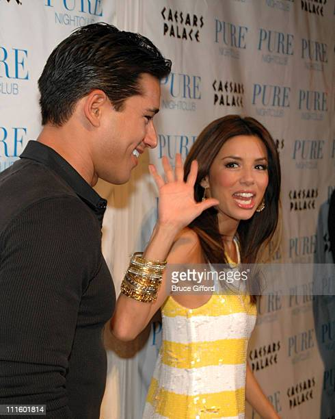 Mario Lopez and Eva Longoria during Jessica Simpson Dolls Up to Celebrate 2nd Anniversary of the Pussycat Dolls Lounge at Pure Nightclub in Las Vegas...