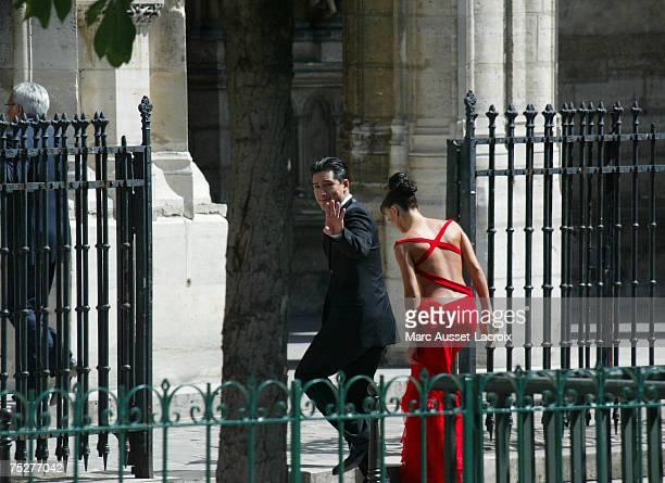 Mario Lopez and girlfriend Karina Smirnoff arrive to Tony Parker and Eva Longoria's wedding at Saint Germain L'Auxerrois church, on July 7 in Paris,...