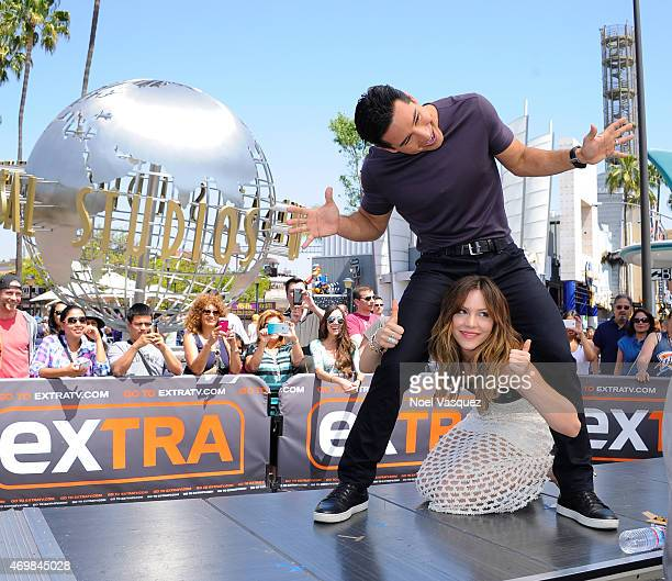 Mario Lopez and Katharine McPhee visit 'Extra' at Universal Studios Hollywood on April 15 2015 in Universal City California