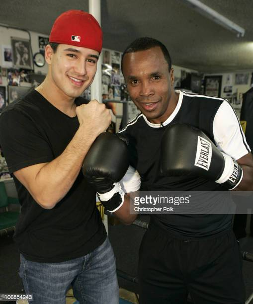 Mario Lopez and Sugar Ray Leonard during Sugar Ray Leonard and 'Extra's' Mark McGrath Fight at Wild Card Gym at Wild Card Gym in Hollywood California...