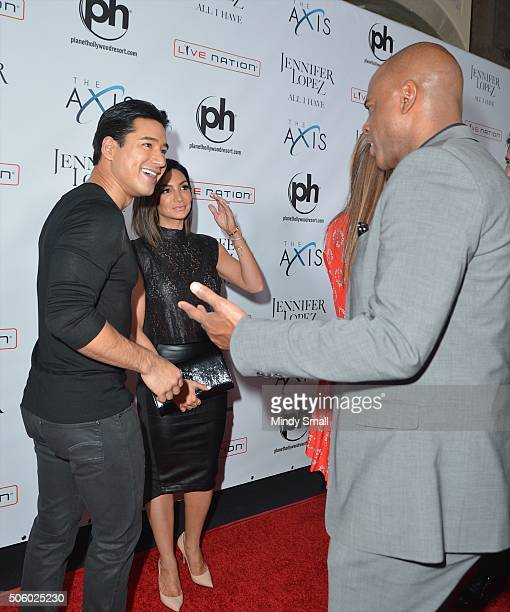 Mario Lopez Courney Mazza and Kevin Frazier attend the launch of Jennifer Lopez's residency 'JENNIFER LOPEZ ALL I HAVE' at Planet Hollywood Resort...