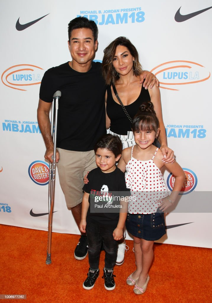 Mario Lopez, Courtney Laine Mazza, Dominic Lopez and Gia Francesca Lopez attend the 2nd annual MBJAM18 presented by Michael B. Jordan and Lupus LA at Dave & Buster's on July 28, 2018 in Los Angeles, California.