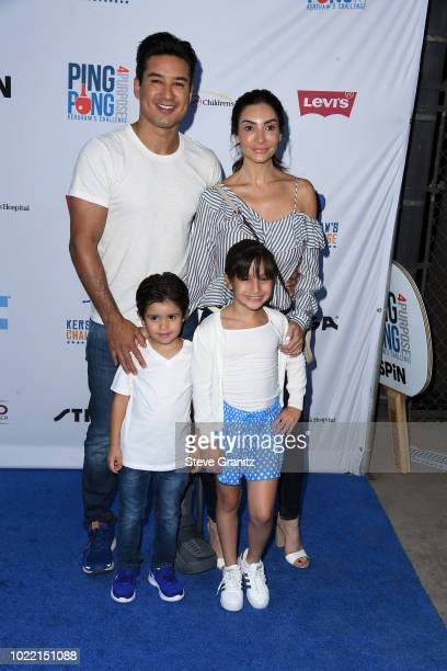 Mario Lopez Courtney Laine Mazza Dominic Lopez and Gia Francesca Lopez attend the 6th annual PingPong4Purpose at Dodger Stadium on August 23 2018 in...