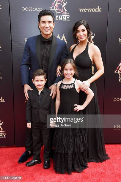 Mario Lopez, Courtney Laine Mazza, Dominic Lopez and Gia Francesca Lopez attend the 46th annual Daytime Emmy Awards at Pasadena Civic Center on May...