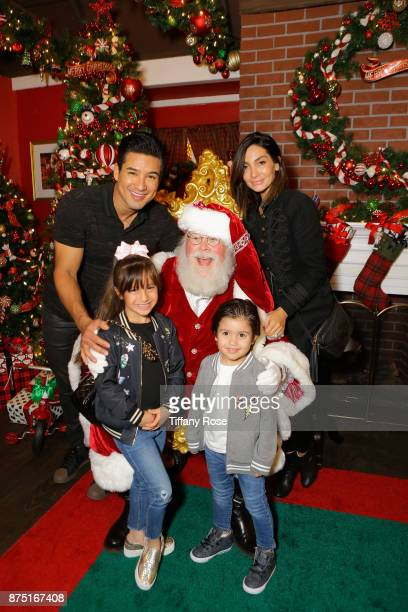 Mario Lopez, daughter Gia Francesca Lopez, son Dominic Lopez, and Courtney Lopez at Derek Hough Hosts The Americana at Brand Tree Lighting Presented...