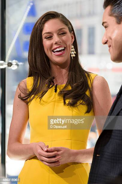Mario Lopez interviews Abby Hunstman during her visit to 'Extra' at their New York studios at HM in Times Square on April 23 2014 in New York City