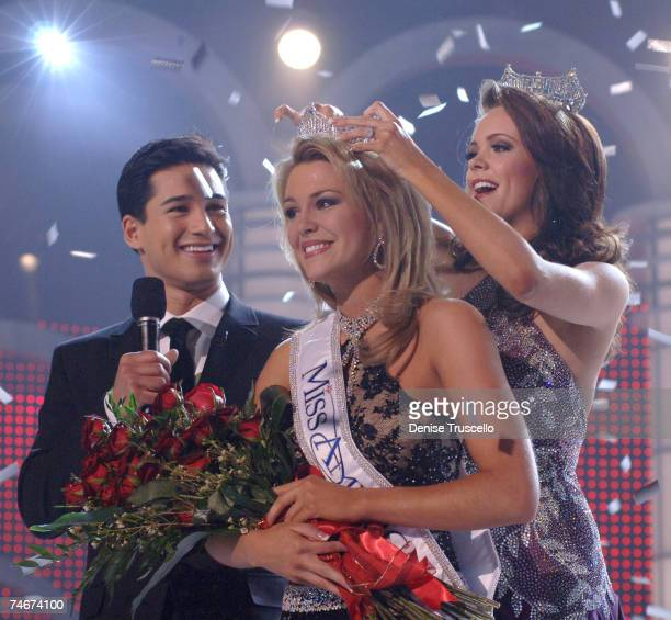Mario Lopez Lauren Nelson Miss America 2007 and Jennifer Berry Miss America 2006 during 2007 Miss America Pageant Show at the The Aladdin/Planet...