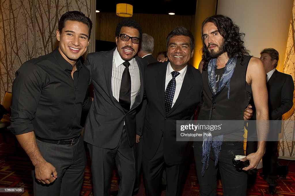 Mario Lopez, Lionel Richie, George Lopez and Russell Brand celebrate their favorite destination at the LA premiere of 'Mexico: The Royal Tour' at JW Marriott Los Angeles at L.A. LIVE on September 21, 2011 in Los Angeles, California.