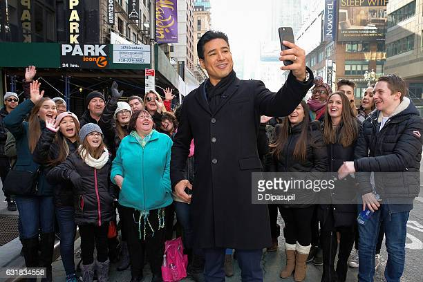 "Mario Lopez tapes ""Extra"" in Times Square on January 16, 2017 in New York City."