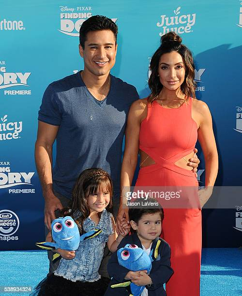 "Mario Lopez, wife Courtney Laine Mazza and children Gia Francesca Lopez and Dominic Lopez attend the premiere of ""Finding Dory"" at the El Capitan..."