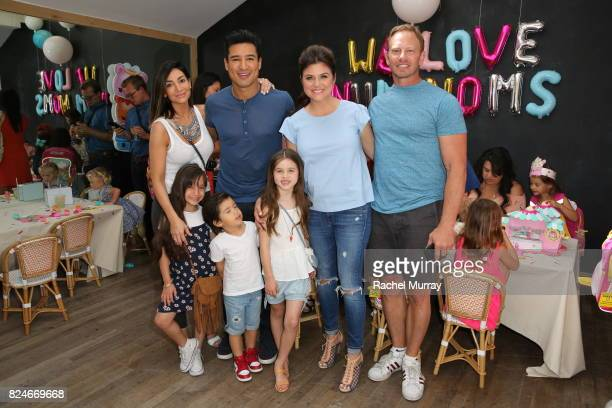 Mario Lopez wife Courtney Mazza daughter Gia Francesca Lopez son Dominic Lopez Ian Ziering host Tiffani Thiessen and her daughter Harper Smith attend...