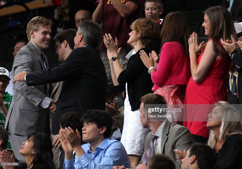 Mario Lucia, drafted 60th overall by the Minnesota Wild, celebrates with his family during day two of the 2011 NHL Entry Draft at Xcel Energy Center on June 25, 2011 in St Paul, Minnesota.