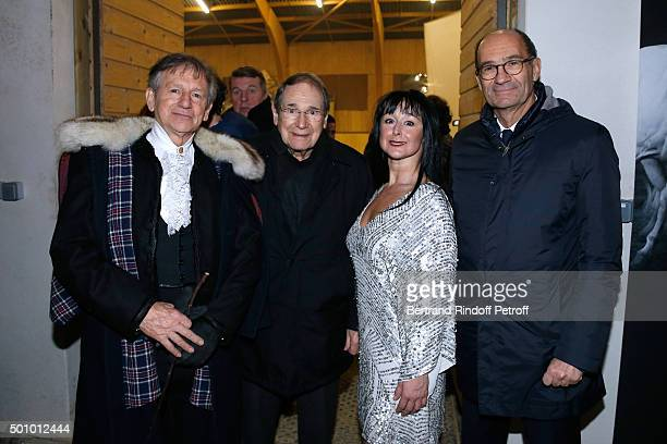 Mario Luraschi Actor Robert Hossein Artist of the Show and Politician Eric Woerth attend the 'Mario Luraschi's Espace Cavalcade' Opening Night at...