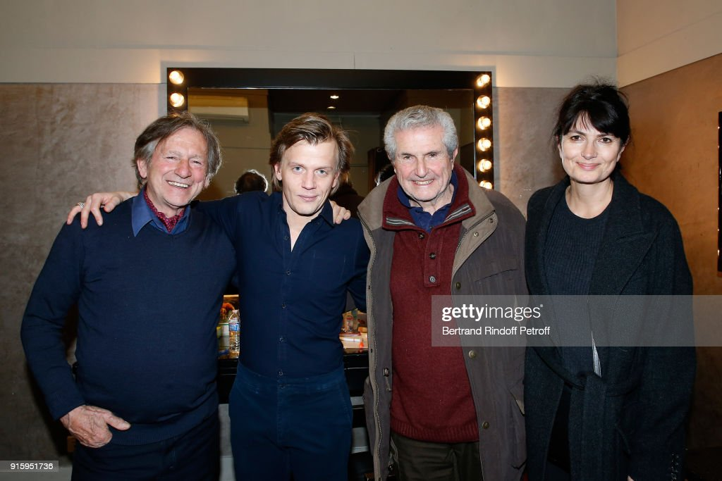 Mario Luraschi, Alex Lutz, Claude Lelouch and Valerie Perrin pose after the Alex Lutz One Man Show At L'Olympia on February 8, 2018 in Paris, France.