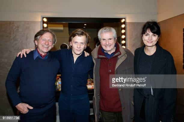 Mario Luraschi Alex Lutz Claude Lelouch and Valerie Perrin pose after the Alex Lutz One Man Show At L'Olympia on February 8 2018 in Paris France