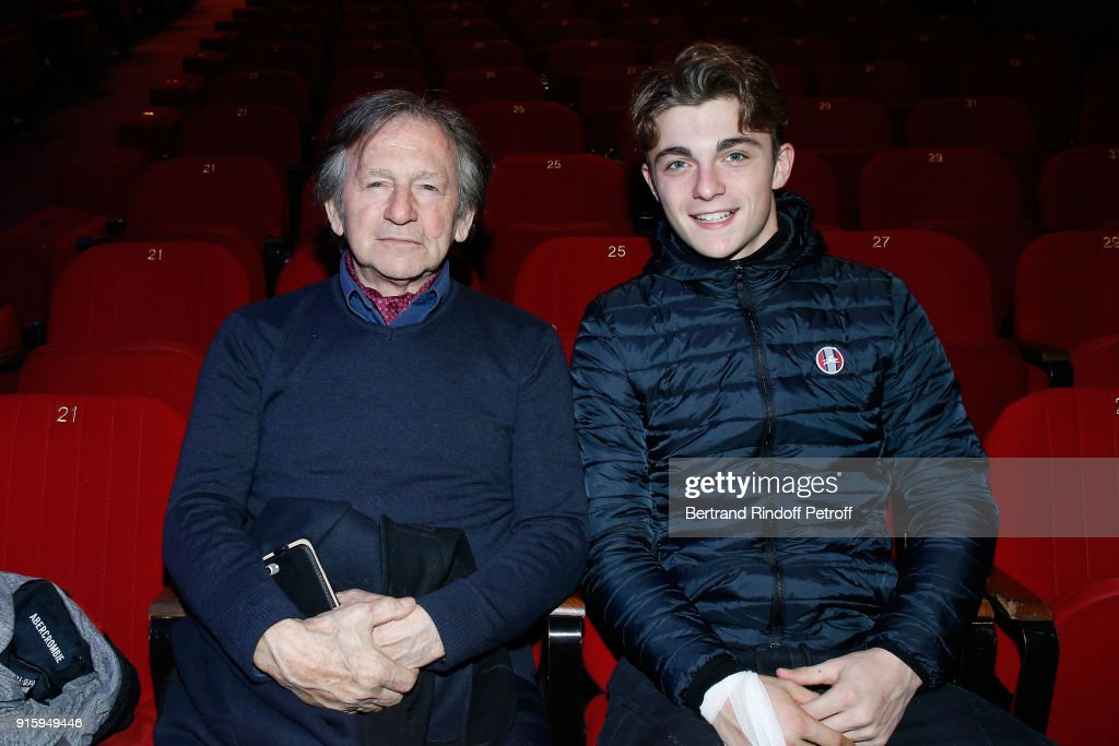 Mario Luraschi and his son Marco attend the Alex Lutz One Man Show At L'Olympia on February 8, 2018 in Paris, France.
