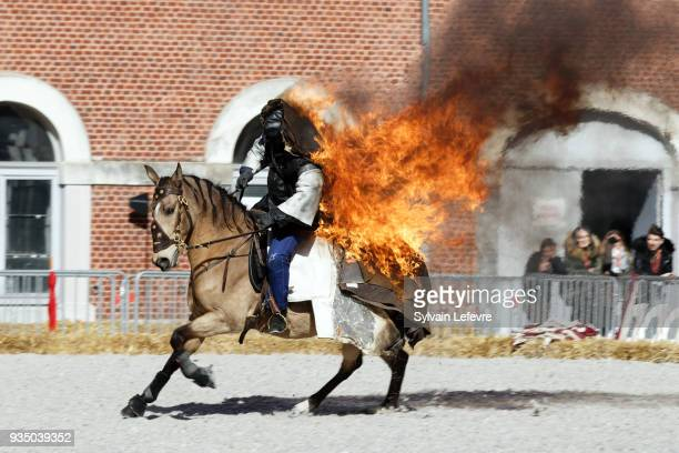 Mario Luraschi's equestrian riding stunt show horse on fire is presented during Valenciennes Film Festival on March 20 2018 in Valenciennes France