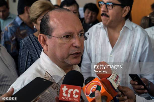 Mario Machuca Sanchez secretary general of the Institutional Revolutionary Party for Benito Juarez speaks with members of the media during the PRI...