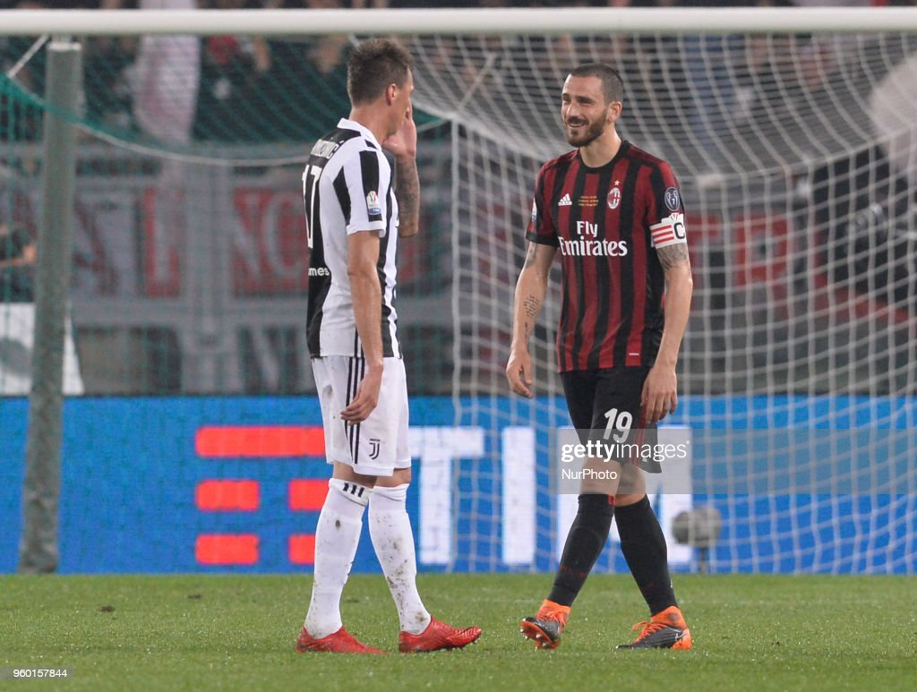 Mario Mandzukic and Leonardo Bonucci during the Tim Cup Final football match F.C. Juventus vs A.C. Milan at the Olympic Stadium in Rome, on May 09, 2018