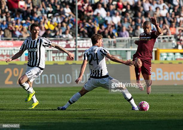 Mario Mandzukic Daniele Rugani and Bruno Peres during the serie A match between Torino FC and Juventus FC at the Olympic Stafium of Turin on march 20...