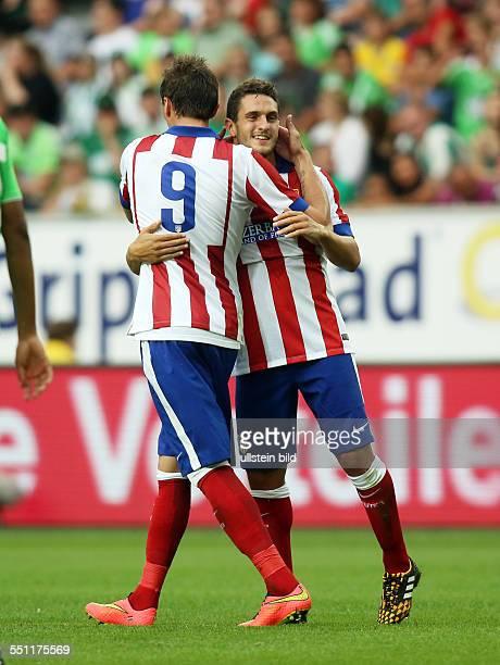 Mario Mandzukic, Koke, Jubel, Freude, Emotion , Atletico Madrid, Testspiel Freundschaftsspiel, Spanien Primera DivisionL, Sport, Fußball Fussball,...