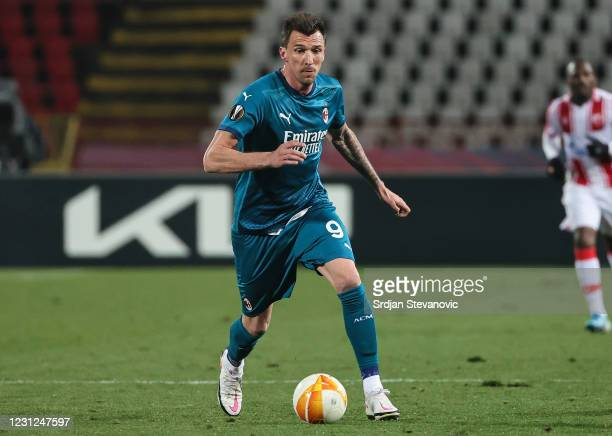 Mario Mandzukic of AC Milan in action during the UEFA Europa League Round of 32 match between Crvena Zvezda and AC Milan at on February 17, 2021 in...