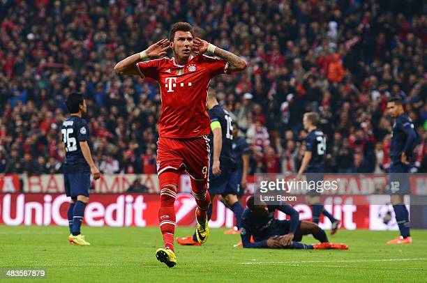 Mario Mandzukic of Bayern Muenchen celebrates his goal during the UEFA Champions League Quarter Final second leg match between FC Bayern Muenchen and...