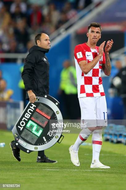 Mario Mandzukic of Croatia acknowledges the fans after being substituted during the 2018 FIFA World Cup Russia group D match between Croatia and...