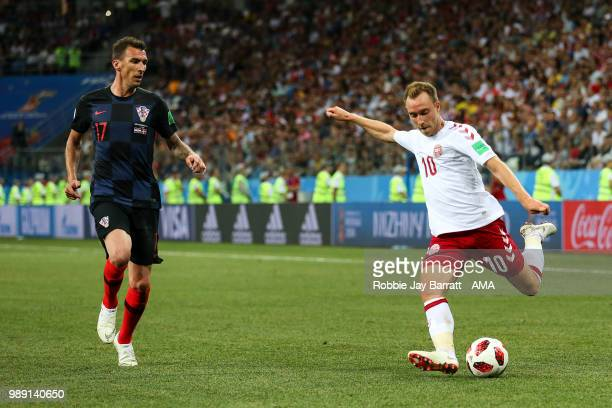 Mario Mandzukic of Croatia and Christian Eriksen of Denmark during the 2018 FIFA World Cup Russia Round of 16 match between 1st Group D and 2nd Group...