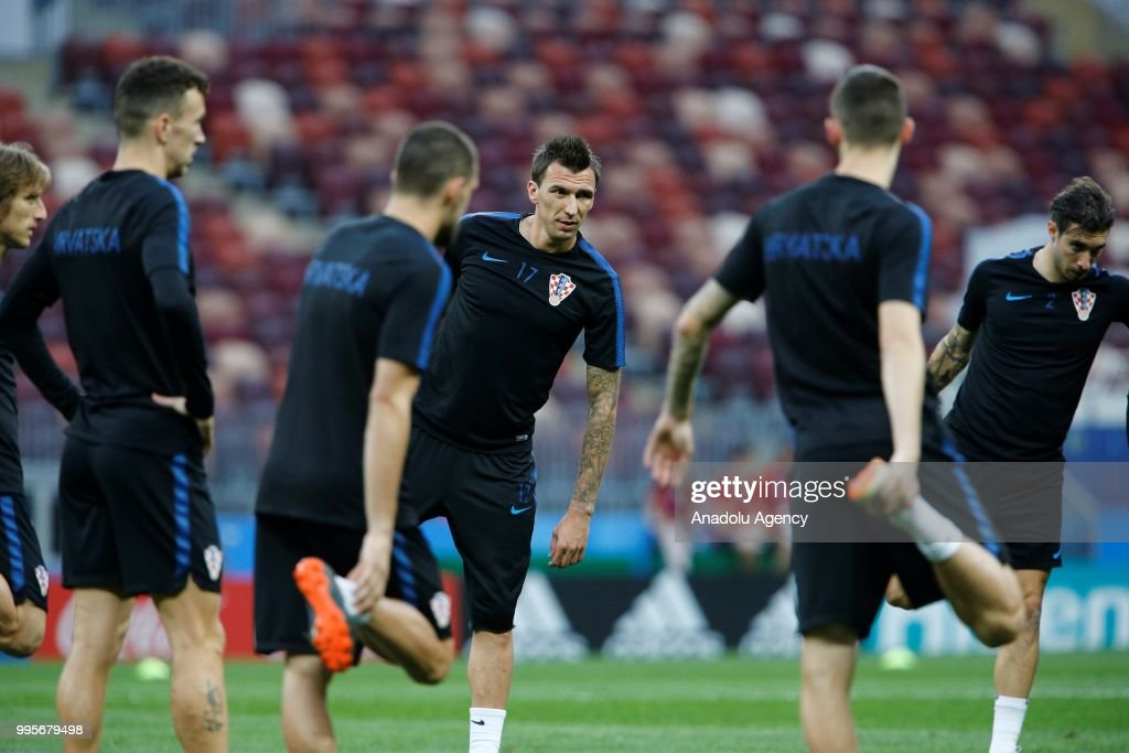 Mario Mandzukic (17) of Croatia attends a training session ahead of the 2018 FIFA World Cup Russia semi final match between Croatia and England at the Luzhniki Stadium in Moscow, Russia on July 10, 2018.
