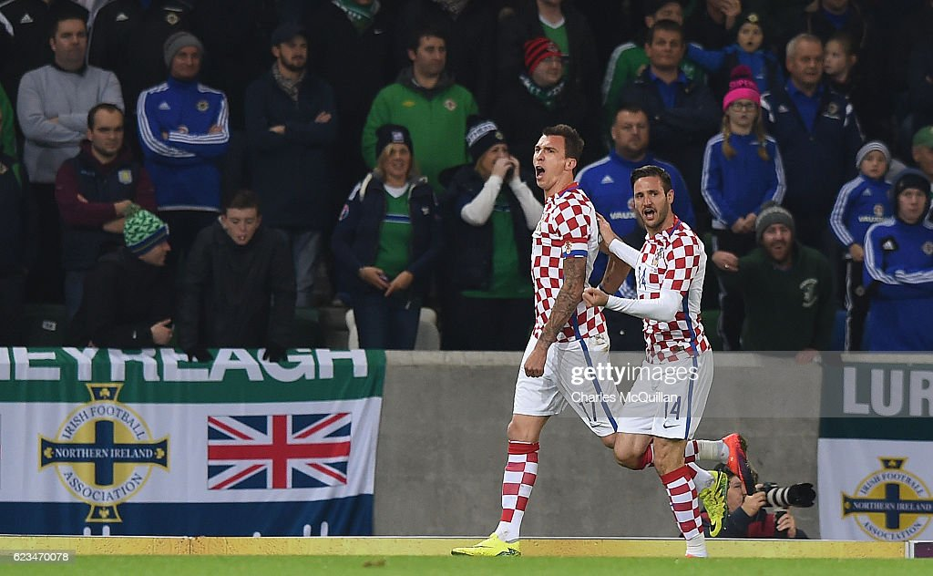 Mario Mandzukic (L) of Croatia celebrates after scoring during the international friendly fixture between Northern Ireland and Croatia at Windsor Park on November 15, 2016 in Belfast, Northern Ireland.