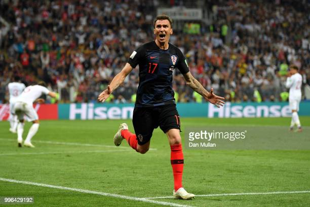 Mario Mandzukic of Croatia celebrates after scoring his team's second goal during the 2018 FIFA World Cup Russia Semi Final match between England and...