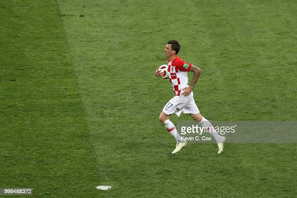 Mario Mandzukic of Croatia celebrates after scoring his team's second goal during the 2018 FIFA World Cup Final between France and Croatia at...