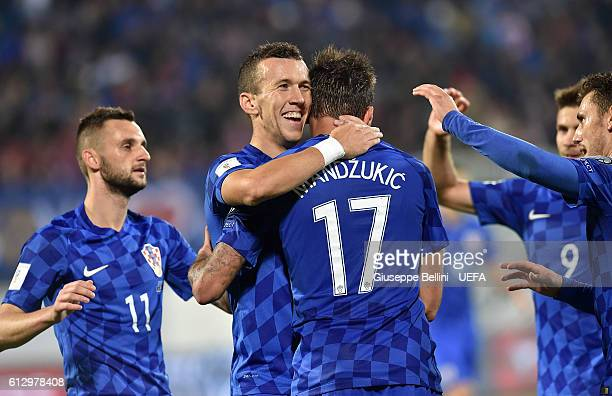 Mario Mandzukic of Croatia celebrates after scoring the goal 03 during the FIFA 2018 World Cup Qualifier between Kosovo and Croatia at Loro Borici...