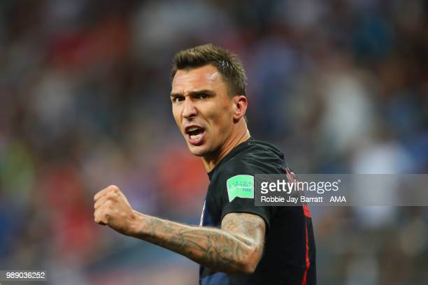 Mario Mandzukic of Croatia celebrates scoring a goal to make it 11 during the 2018 FIFA World Cup Russia Round of 16 match between Croatia and...