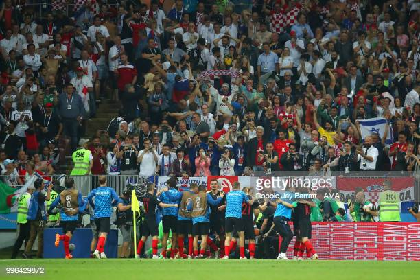 Mario Mandzukic of Croatia celebrates scoring a goal to make it 21 in extra time during the 2018 FIFA World Cup Russia Semi Final match between...