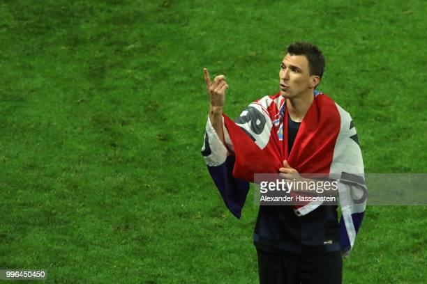 Mario Mandzukic of Croatia celebrates victory following the 2018 FIFA World Cup Russia Semi Final match between England and Croatia at Luzhniki...